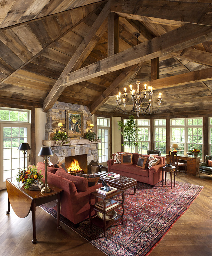 Den Decor Ideas With Vintage Posters Family Room Rustic: Midwest Country House